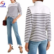 New fashion women autumn casual long sleeve turtleneck button-embellished striped cotton knit top