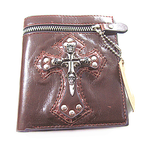 Men Wallet Punk Style Cross Skull Purses For Credit Card Pocket Money Visiting Cards Male Short Hip Hop Vintage Wallets
