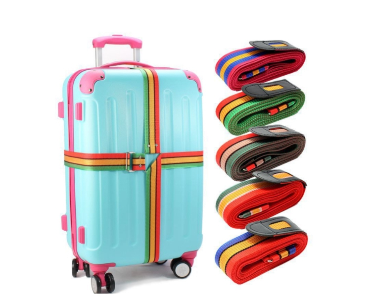 TS-S13025 Rainbow Color Luggage Strap With Metal Buckle Adjustable Wholesale PP Cross luggage Strap