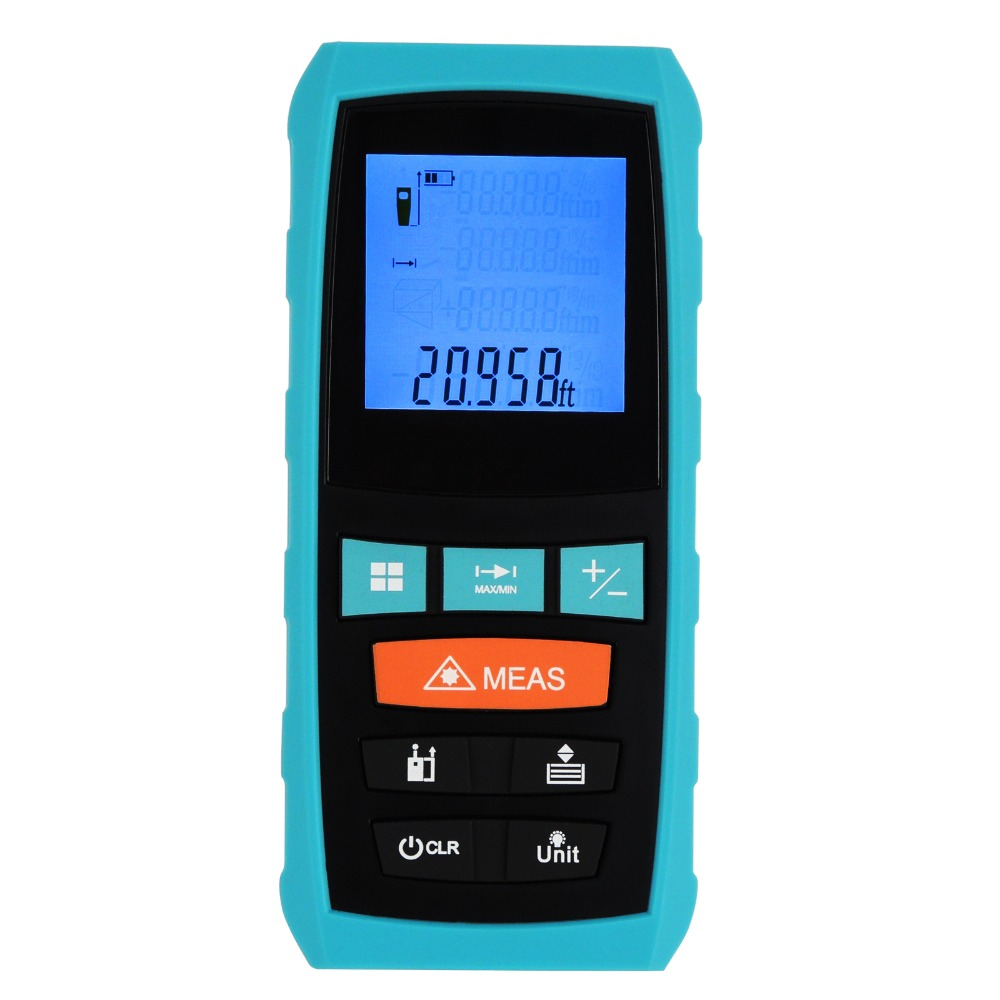 Measure Area Volume Pythagoras 60M/197ft Range Finder +/-1.5mm Accuracy Meter Feet Inches Units Digital Laser Meter Tool