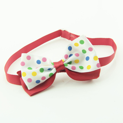Pet Bow Tie Red with White Bow Tie for Dogs or Cats Hand Made Pet Bow Tie Cat Collar V1176