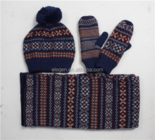 Girls/boys Winter/Fall China factory Acrylic Knitted Hats scarves and gloves sets