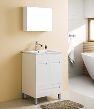 euro style floor standing bathroom vanity with mirror cabinet white