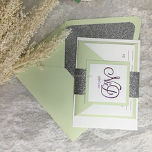 Mint & Silver glitter letterpress wedding invitation