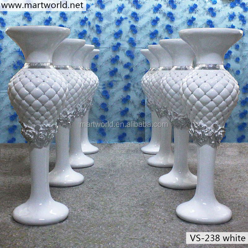 2017 most popular crystal wedding vase for decoration white glass fiber vase flower stand party and wedding decoration (VS-238W)