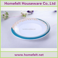two tone color melamine round plastic plates