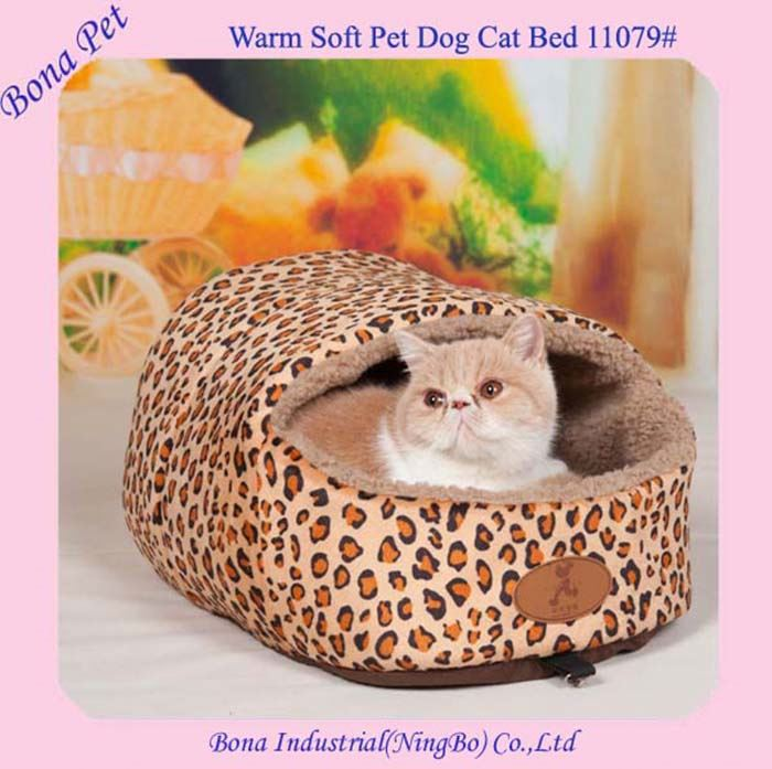 Hot Sale Leopard Print Pet Cat Beds With Covers