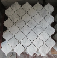 Well Polished Arabesque White Marble Mosiac Backsplash Tile