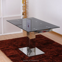 modern high quality rectangle pedestal tempered glass dining table
