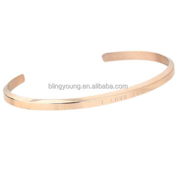 Rose Gold Plated Stainless Steel Cuff Bracelet