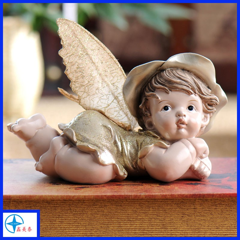 Resin Cute small baby angel statues, baby angel figure