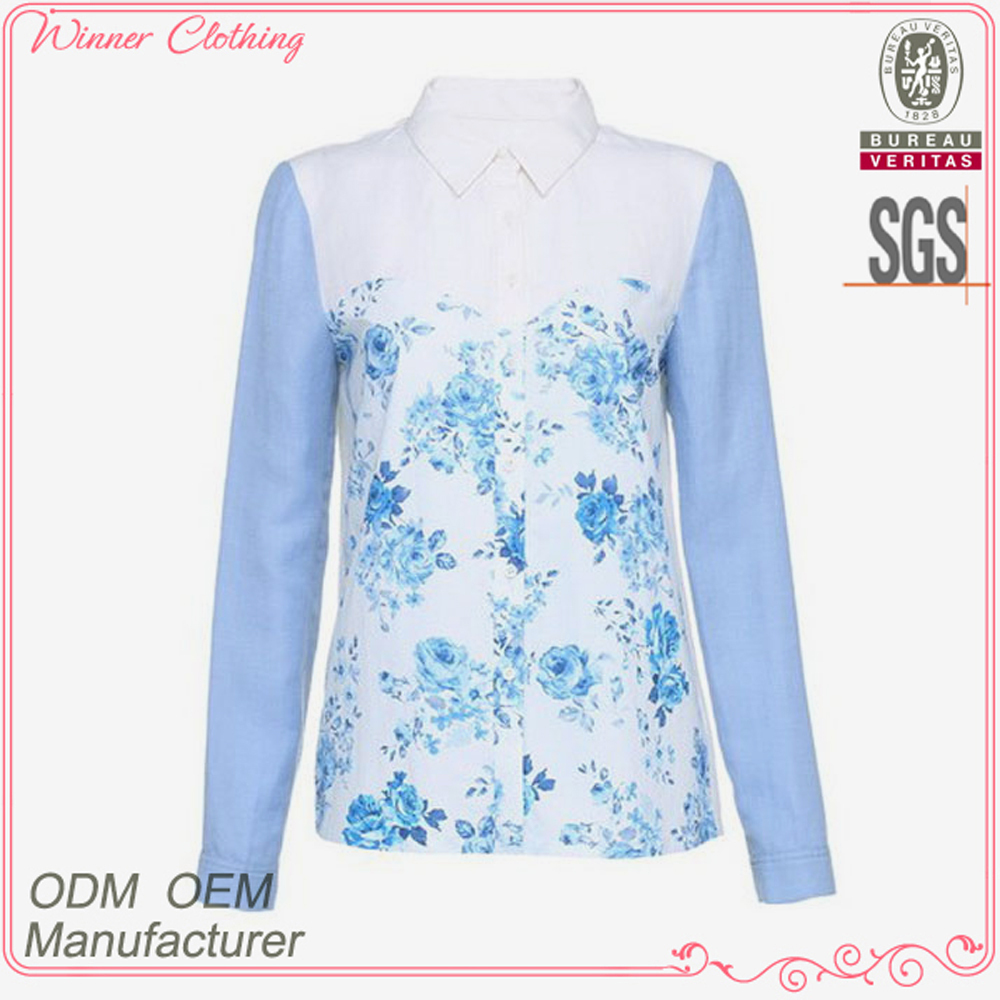 New designs fashion cotton oxford color print combination long sleeves direct manufacturer high quality blouses for church
