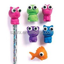 cartoon pencil top decoration, rubber pencil toppers animal character, custom pencil toppers manufacturer