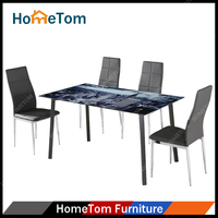 8 mm Painting Tempered Glass Power Coated Finish Expandable Glass Dining Table