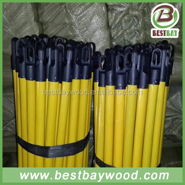 PVC coated wooden broom handle with thread Wooden broom stick / wood handle /