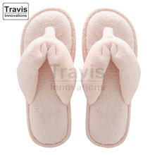 Womens Soft Terry SPA Thong Slippers, Girls Coral Fleece Flip-flops