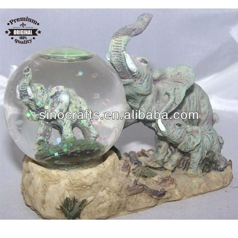 custom resin elephant snow globe animal water ball