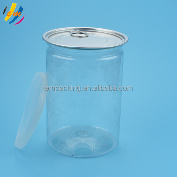 Hot sale food grade clear PET plastic can/jar with easy open end