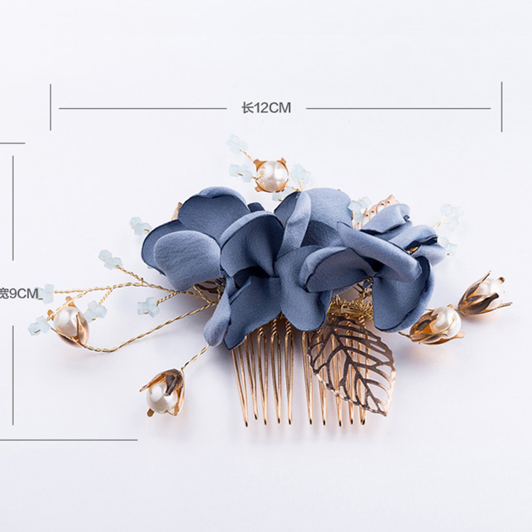 Crystal Hair Jewelry Blue Hair Comb Wedding Hair Pins Bride Hairwear Women Headpiece Dress Accessories Hair Comb