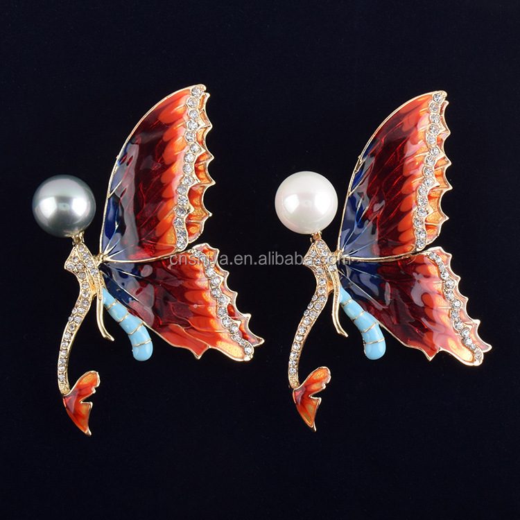 Lovely transparent red enamel fine brooch ,Muslim Hijab Scarf brooch,mermaid butterfly brooch 2016