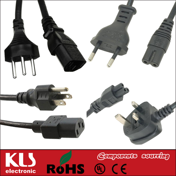 Good quality shielded ac Brazil power cord UL CE ROHS 655 KLS Brand