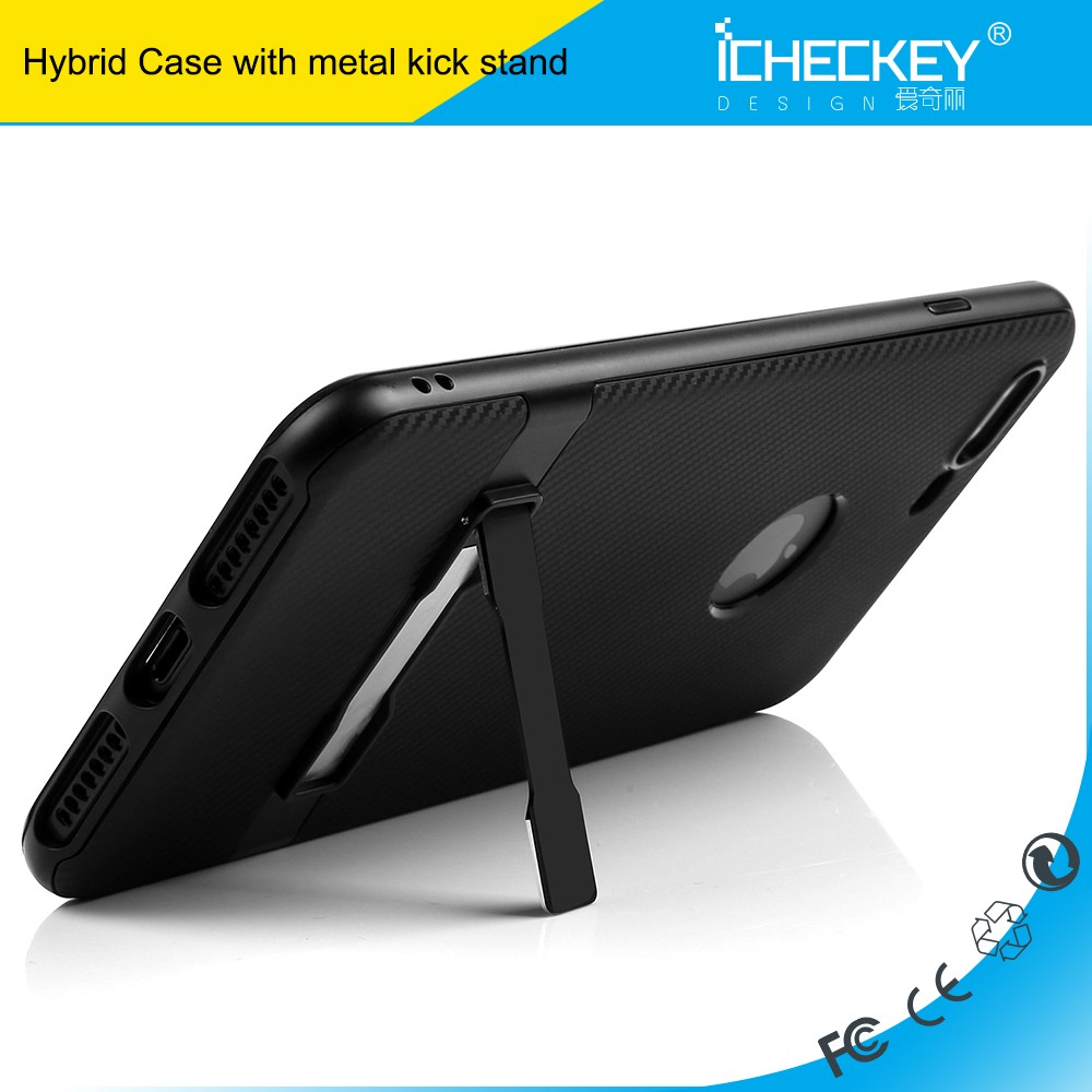 Factory promotion kick stand 4 inch carbon fiber TPU PC Case for iPhone 7