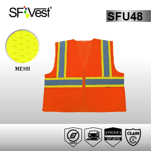 Airport Warning Sports Reflex Worker Sleeveless Vest with ANSI 107
