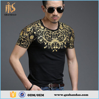 2016 Guangzhou Shandao summer fashion short sleeve slim fit cotton t shirts with gold foil printing