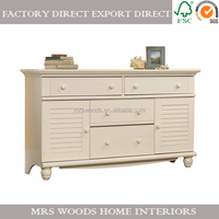 french vintage wooden dresser in antiqued white
