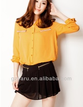 women front open ladies woven blouses