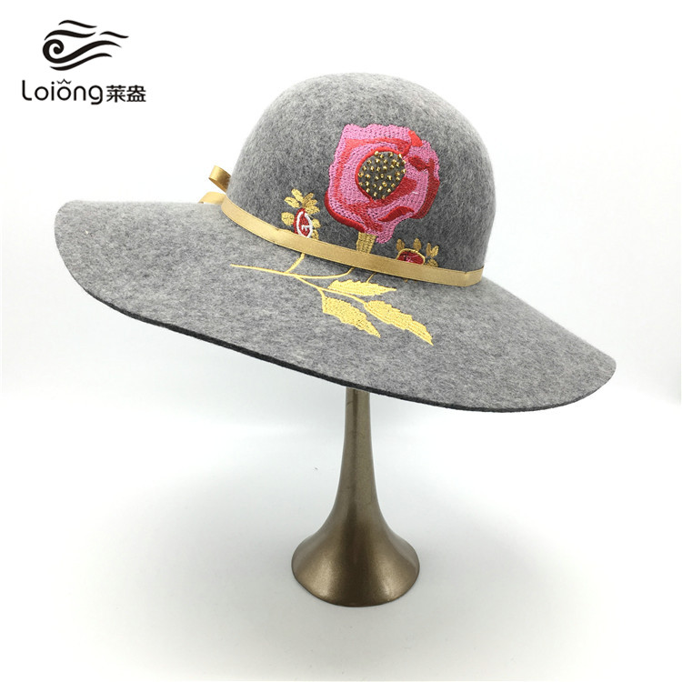 china cheap ladies jacquard weave floppy hat with flower