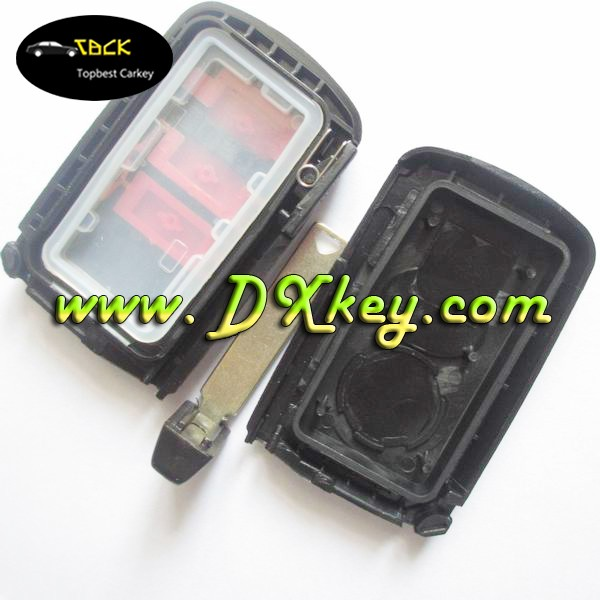 3 buttons smart remote key housing for Toyota Crown car keys in black with emergency key blade with sliver buttons