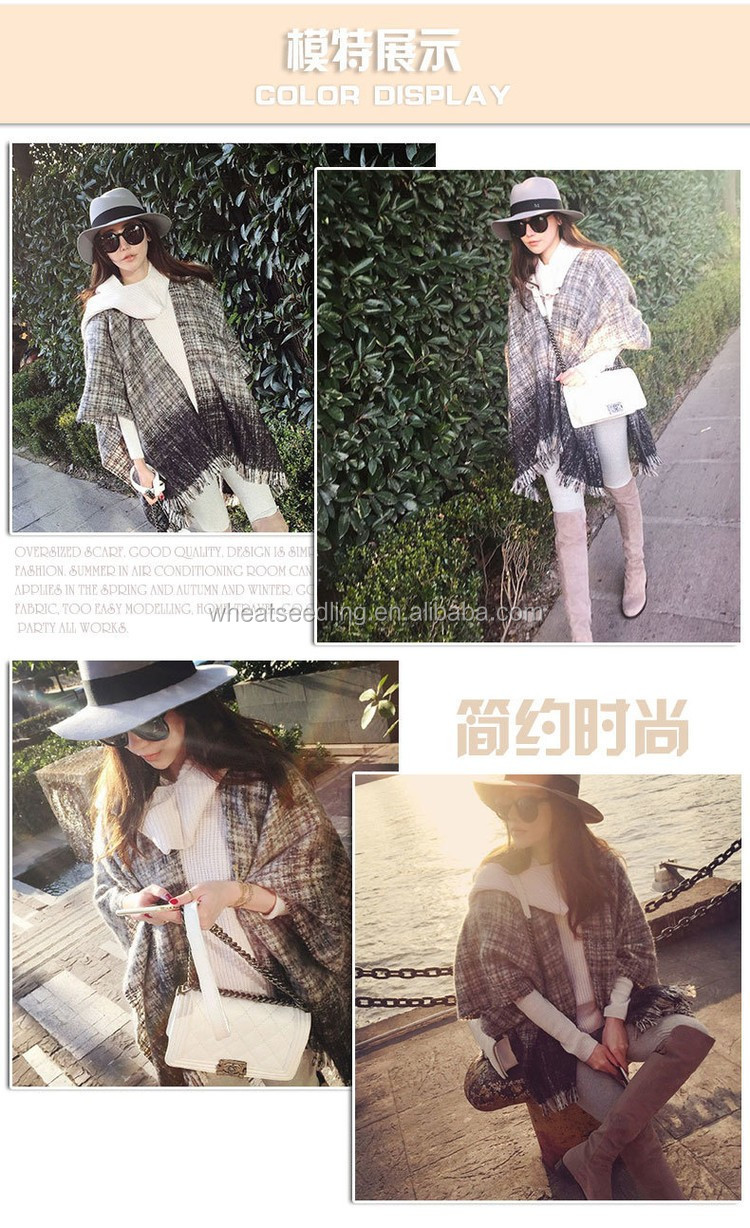 2016 autumn and winter circle sand small lattice scarf ladies long dual-use shawl scarf