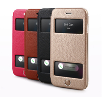 2015 Best selling book style window view leather phone case for iphone 6s