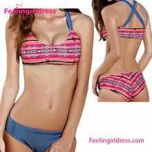 Fast Delivery Non Removable Padded Double To Wear Ladies Bikini Set