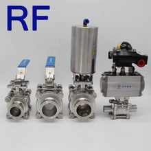 RF Stainless Steel TC Non Retention 3 Piece Manual Ball Valve