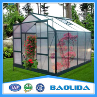 plastic polycarbonate sheet covered mini greenhouse for garden