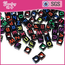 Alibaba Beads Factory Whoelsale 7*7mm Letter Dice Beads For Jewelry Making