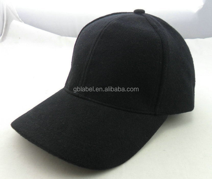 cheap wholesale black wool felt fitted baseball <strong>caps</strong> for men