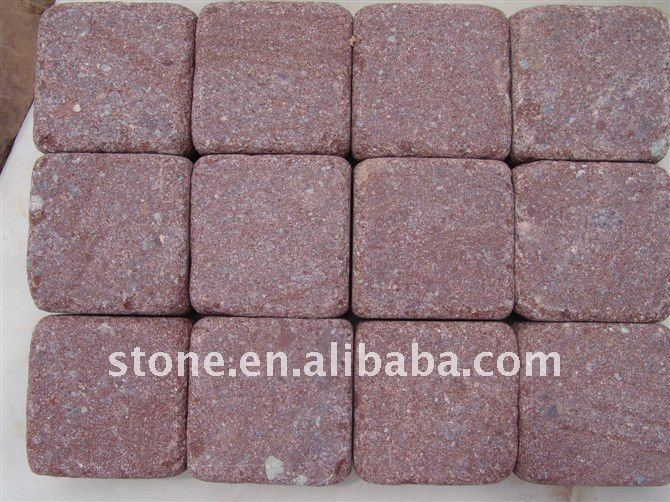 Tumbled Red Granite Paving Stone Cobble
