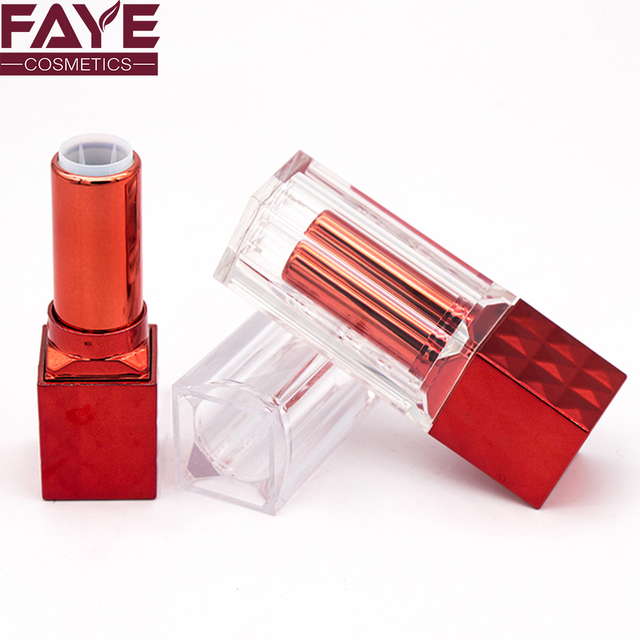 Private label and OEM service charming transparent cap red square cosmetic plastic lipstick tube container