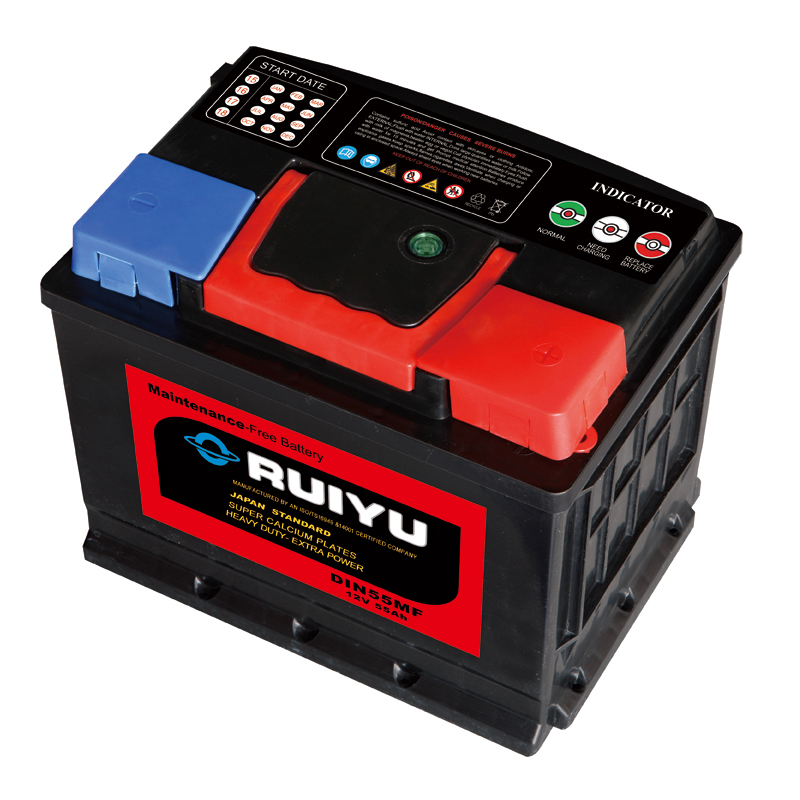 DIN standard super power battery type 12v 55ah vehicle battery