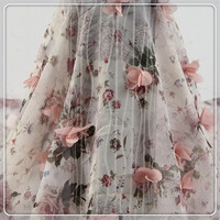 latest 3d net flower lace embroidered fabric with beaded and sequins lace fabric
