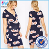 Yihao new Design Wholesale Women Maternity dress Latest wrap design floral print chiffon maternity dress for pregnant women 2016