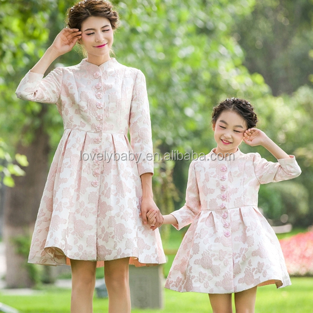 spring season mommy and me pink long sleeve dress elegant dress