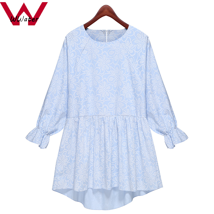 Wwater*New Arrivals 2015 Women Dresses Summer Style Floral Print Blouse Shirts Long Sleeve Casual Plus Size 5XL Short Dress D018