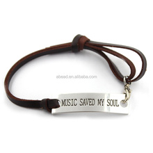 """MUSIC SAVED MY SOUL"" Fashion Accessories Wholesale Leather Bracelets for Guys"