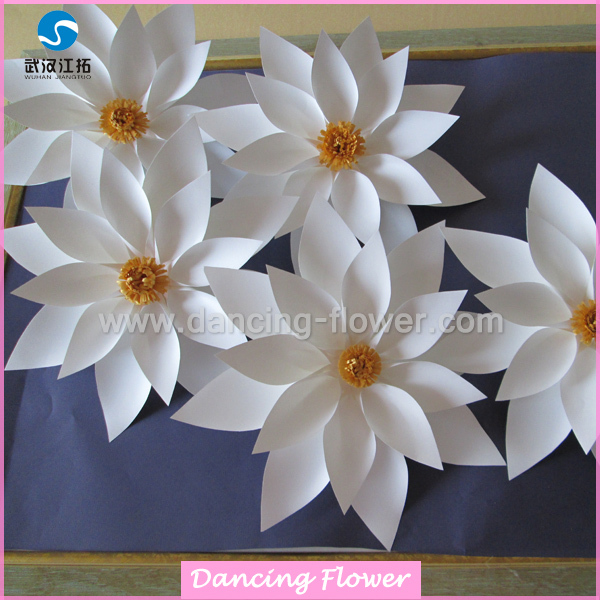 Stage Or Hall Decoration Origami White Lotus 3d Paper Flowers - Buy ...