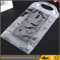 Transparent pvc waterproof hook bag zip with snap button bag clear pvc plastic bag