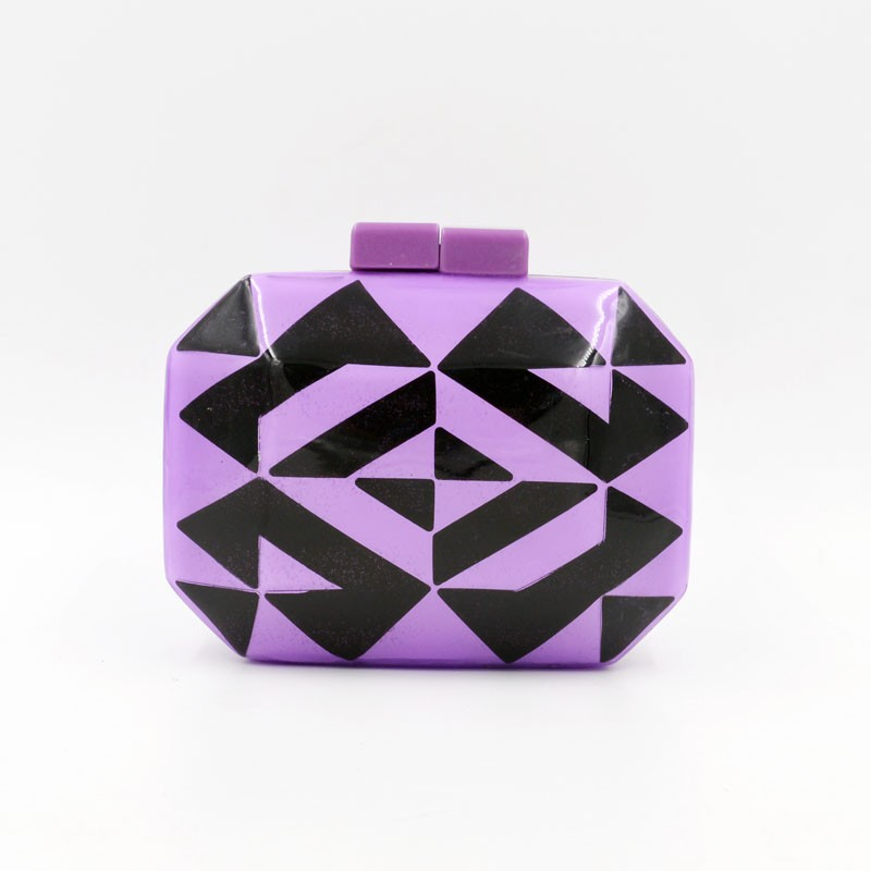 Hot sale purple printed women evening handbag beautiful and simple mini clutch for women